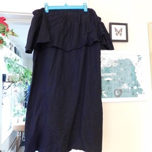 Strapless, off the shoulder ruffle dress
